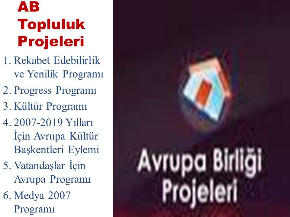 AB Topluluk Projeleri 1.Rekabet Edebilirlik ve Yenilik Programı 2.Progress Programı 3.Kültür Programı 4.2007-2019 Yılları İçin Avrupa Kültür Başkentleri Eylemi 5.Vatandaşlar İçin Avrupa Programı 6.Medya 2007 Programı