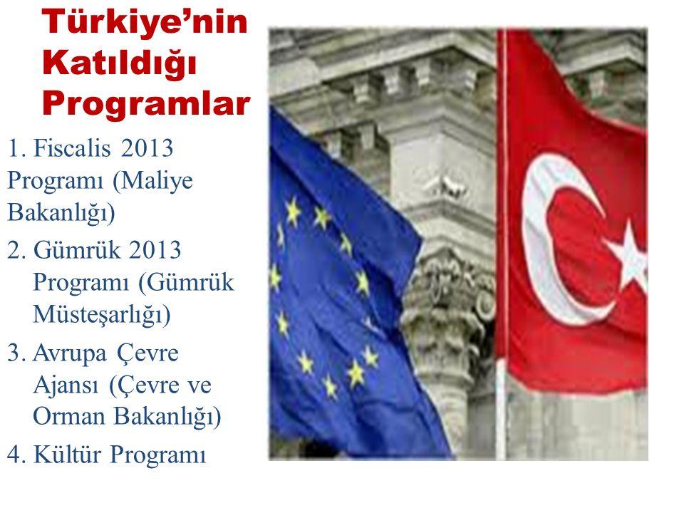 Türkiye'nin Katıldığı Programlar 1.Fiscalis 2013 Programı (Maliye Bakanlığı) 2.