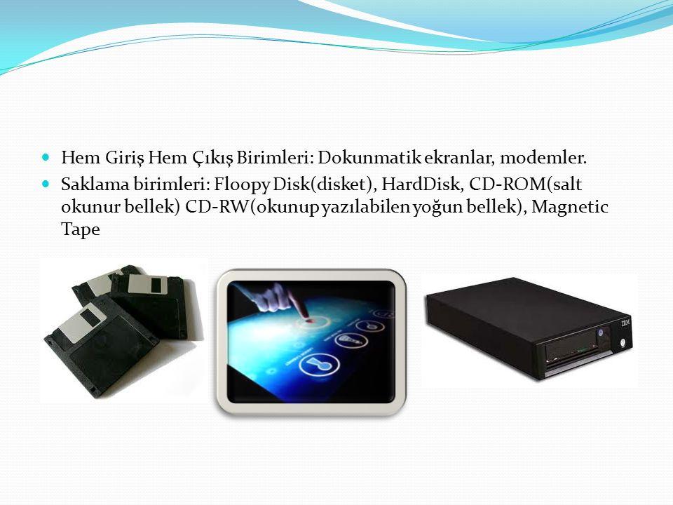 Hem Giriş Hem Çıkış Birimleri: Dokunmatik ekranlar, modemler. Saklama birimleri: Floopy Disk(disket), HardDisk, CD-ROM(salt okunur bellek) CD-RW(okunu