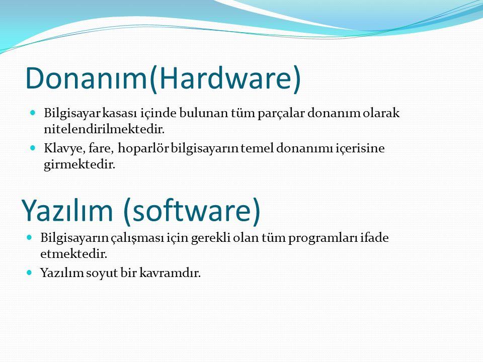 Donanım(Hardware) Bilgisayar kasası içinde bulunan tüm parçalar donanım olarak nitelendirilmektedir. Klavye, fare, hoparlör bilgisayarın temel donanım