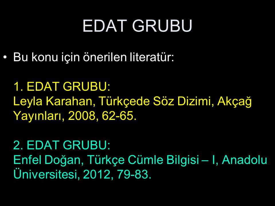 EDAT GRUBU Bu konu için önerilen literatür: 1. EDAT GRUBU: Leyla Karahan, Türkçede Söz Dizimi, Akçağ Yayınları, 2008, 62-65. 2. EDAT GRUBU: Enfel Doğa