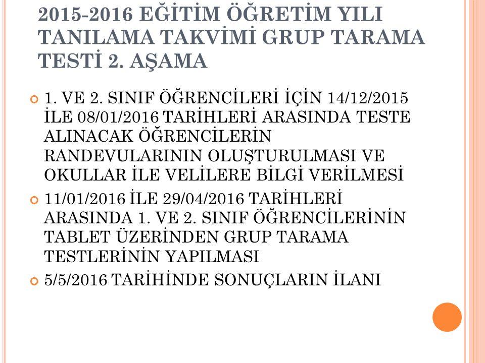 2015-2016 EĞİTİM ÖĞRETİM YILI TANILAMA TAKVİMİ GRUP TARAMA TESTİ 2.