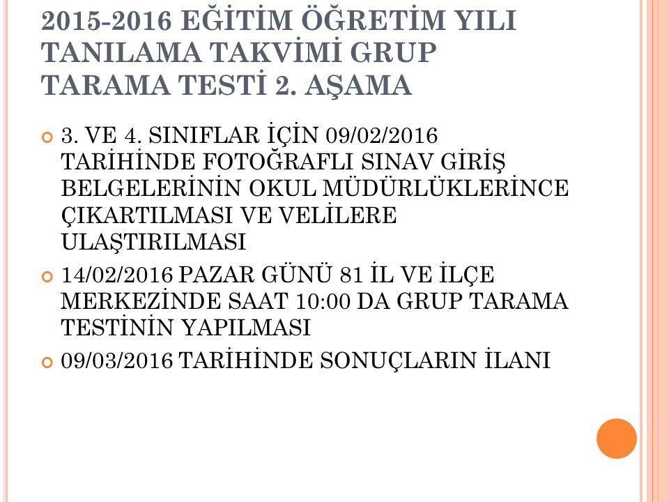 2015-2016 EĞİTİM ÖĞRETİM YILI TANILAMA TAKVİMİ BİREYSEL TESTİ 3.