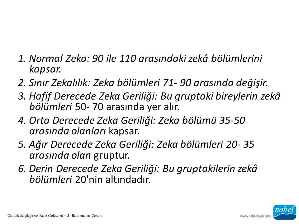 1. Normal Zeka: 90 ile 110 arasındaki zekâ bölümlerini kapsar.