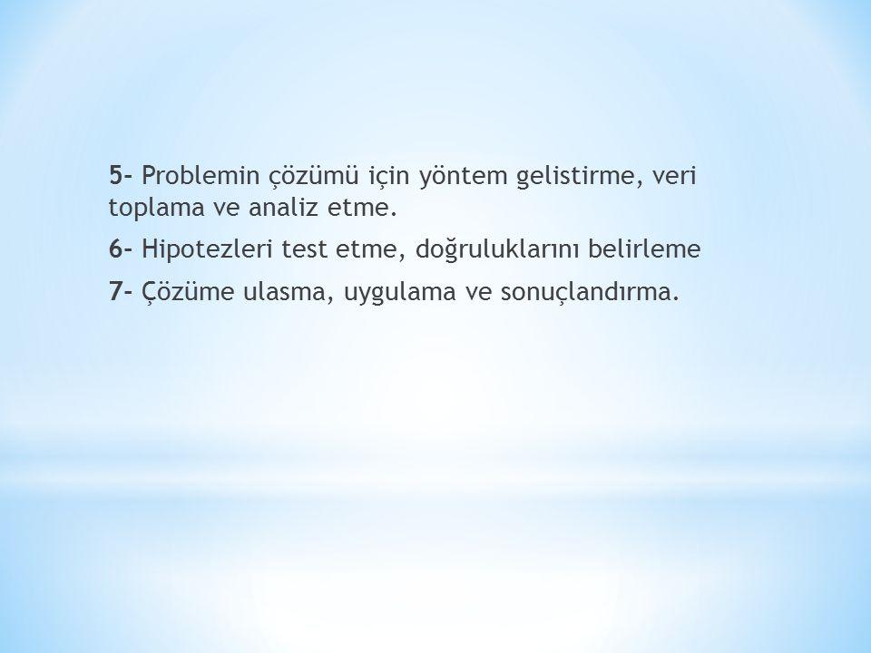 5- Problemin çözümü için yöntem gelistirme, veri toplama ve analiz etme. 6- Hipotezleri test etme, doğruluklarını belirleme 7- Çözüme ulasma, uygulama