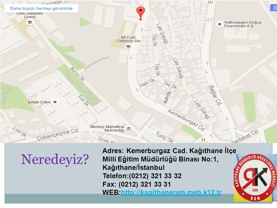 Neredeyiz? Adres: Kemerburgaz Cad. Kağıthane İlçe Milli Eğitim Müdürlüğü Binası No:1, Kağıthane/İstanbul Telefon:(0212) 321 33 32 Fax: (0212) 321 33 3