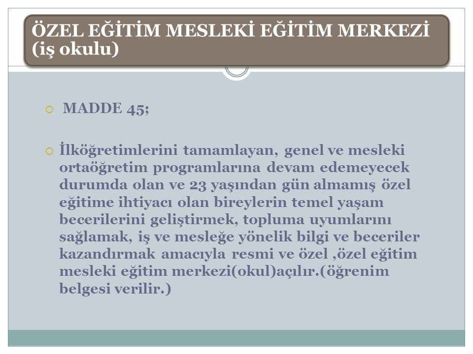  MADDE 45;  İlköğretimlerini tamamlayan, genel ve mesleki ortaöğretim programlarına devam edemeyecek durumda olan ve 23 yaşından gün almamış özel eğ