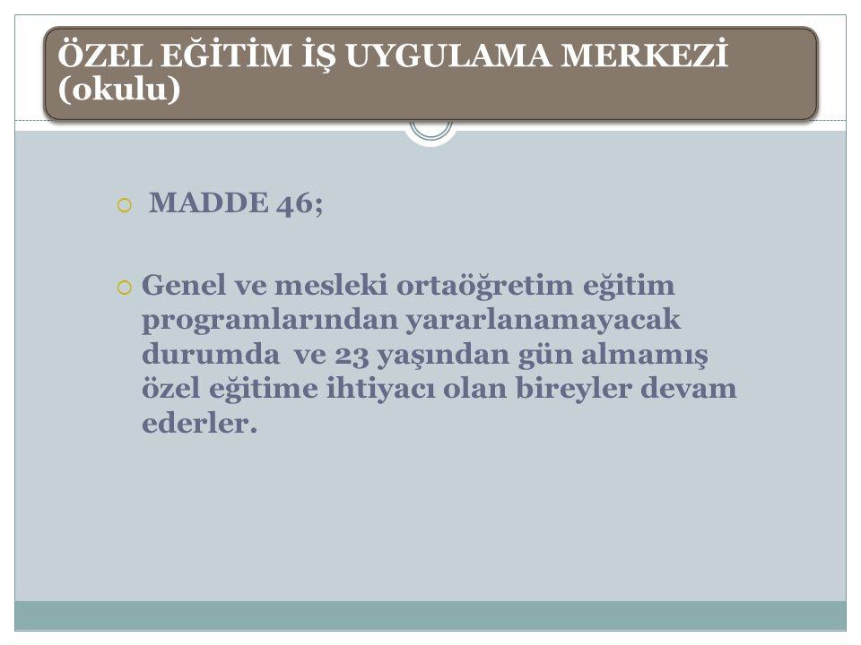  MADDE 46;  Genel ve mesleki ortaöğretim eğitim programlarından yararlanamayacak durumda ve 23 yaşından gün almamış özel eğitime ihtiyacı olan birey