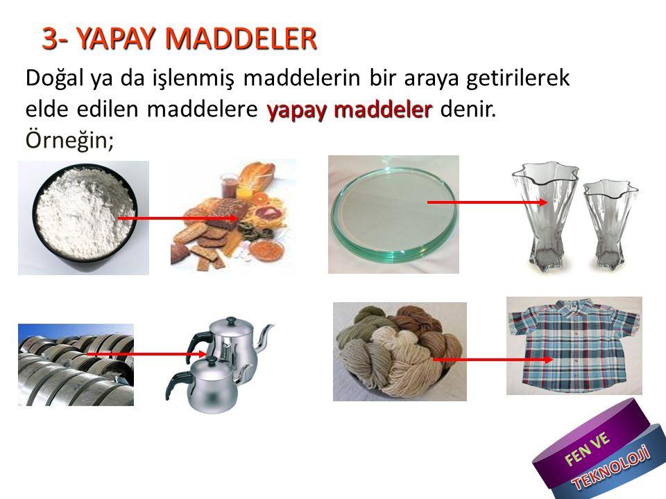 3- YAPAY MADDELER yapay maddeler Doğal ya da işlenmiş maddelerin bir araya getirilerek elde edilen maddelere yapay maddeler denir.
