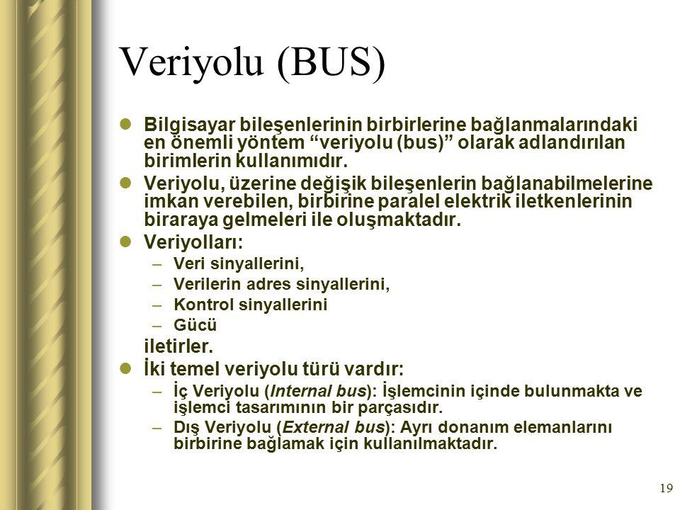 """19 Veriyolu (BUS) Bilgisayar bileşenlerinin birbirlerine bağlanmalarındaki en önemli yöntem """"veriyolu (bus)"""" olarak adlandırılan birimlerin kullanımıd"""