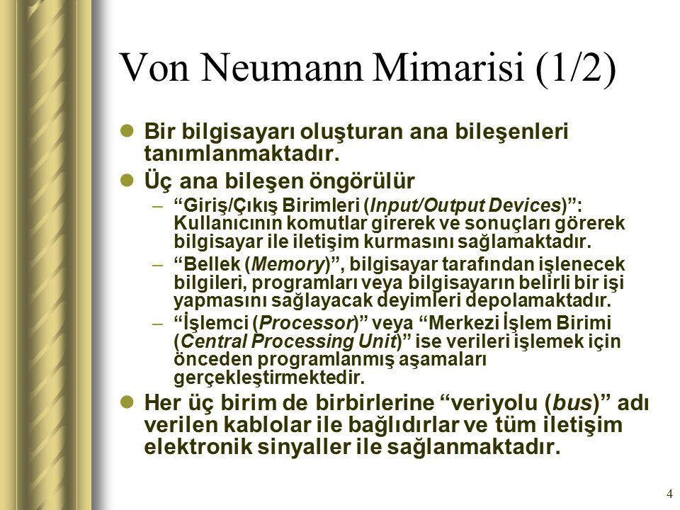 """4 Von Neumann Mimarisi (1/2) Bir bilgisayarı oluşturan ana bileşenleri tanımlanmaktadır. Üç ana bileşen öngörülür –""""Giriş/Çıkış Birimleri (Input/Outpu"""