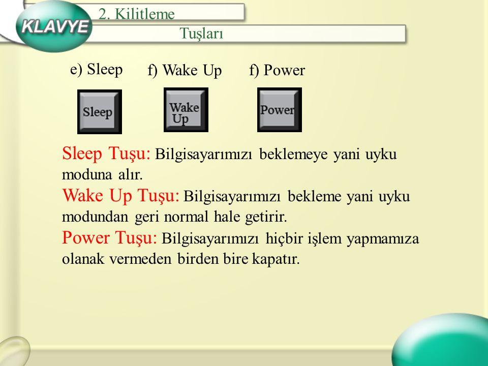e) Sleep Sleep Tuşu: Bilgisayarımızı beklemeye yani uyku moduna alır. Wake Up Tuşu: Bilgisayarımızı bekleme yani uyku modundan geri normal hale getiri
