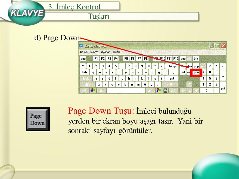d) Page Down Page Down Tuşu: İmleci bulunduğu yerden bir ekran boyu aşağı taşır. Yani bir sonraki sayfayı görüntüler. 3. İmleç Kontrol Tuşları