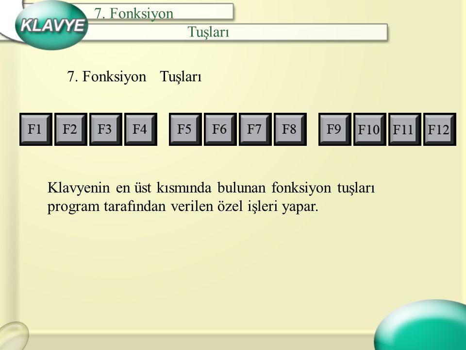 7. Fonksiyon Tuşları 7. Fonksiyon Tuşları Klavyenin en üst kısmında bulunan fonksiyon tuşları program tarafından verilen özel işleri yapar.