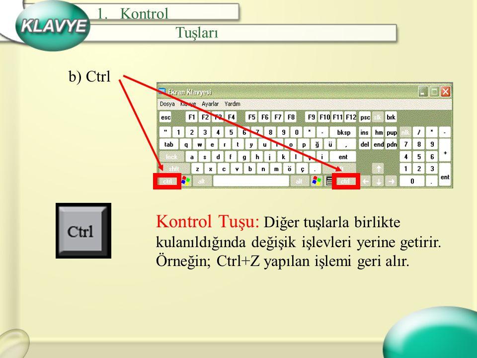 c) Alt Alternatif Tuşu: Bazı tuşlarla birlikte kullanıldığında program tarafından belirlenmiş işlevi yerine getirir.