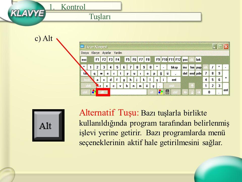 c) Alt Alternatif Tuşu: Bazı tuşlarla birlikte kullanıldığında program tarafından belirlenmiş işlevi yerine getirir. Bazı programlarda menü seçenekler