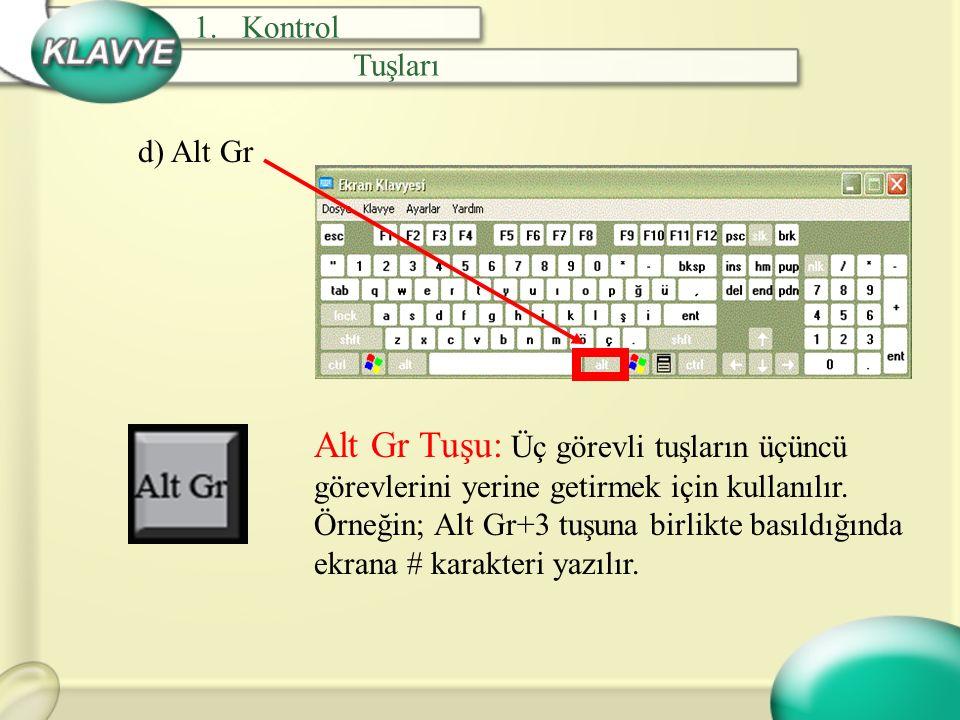 a) Num Lock Sayı Kilitleme Tuşu: Klavyenin sağ tarafında sayısal tuşlar vardır.