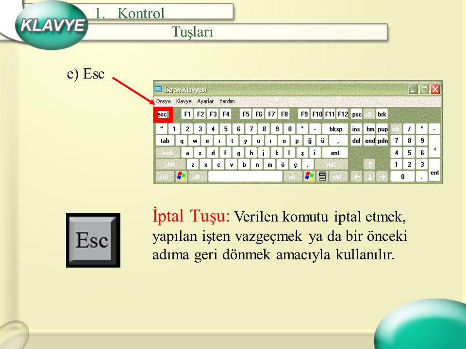 f) Tab Sekme Tuşu: Programa göre farklılık gösterir.