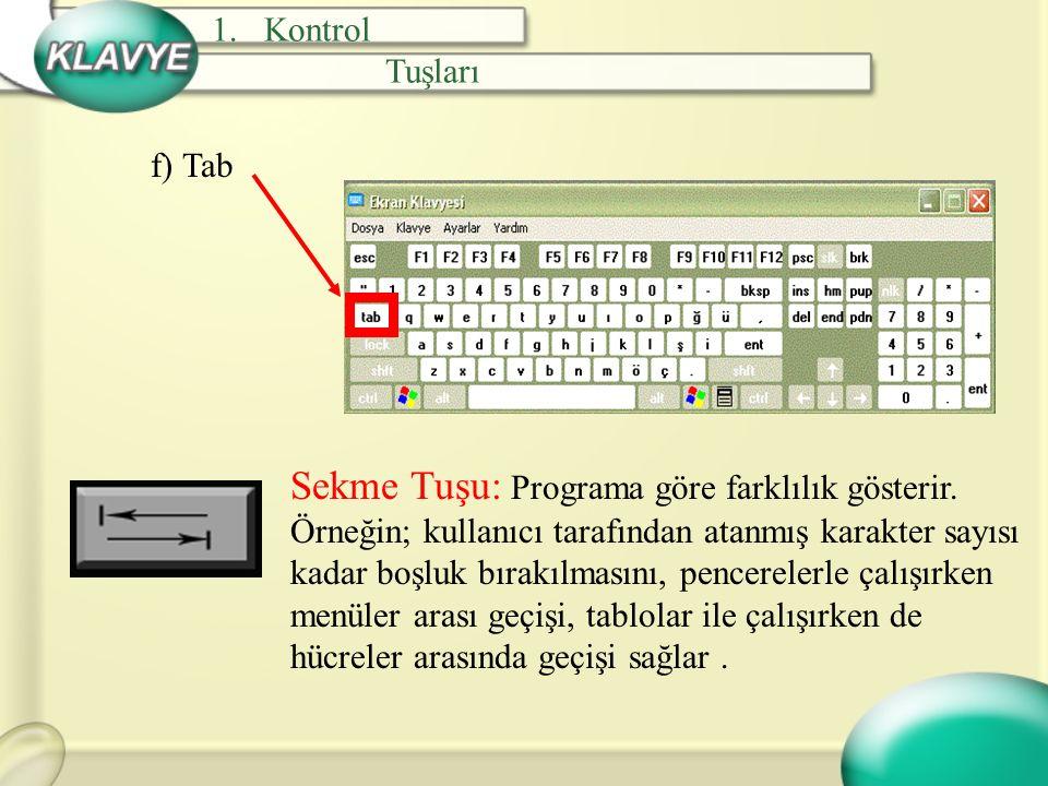 g) Shift Kaldırma Tuşu: Başka tuşlarla birlikte kullanıldığında işlev kazanan bir tuştur.