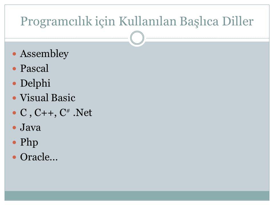 Programcılık için Kullanılan Başlıca Diller Assembley Pascal Delphi Visual Basic C, C++, C #.Net Java Php Oracle...