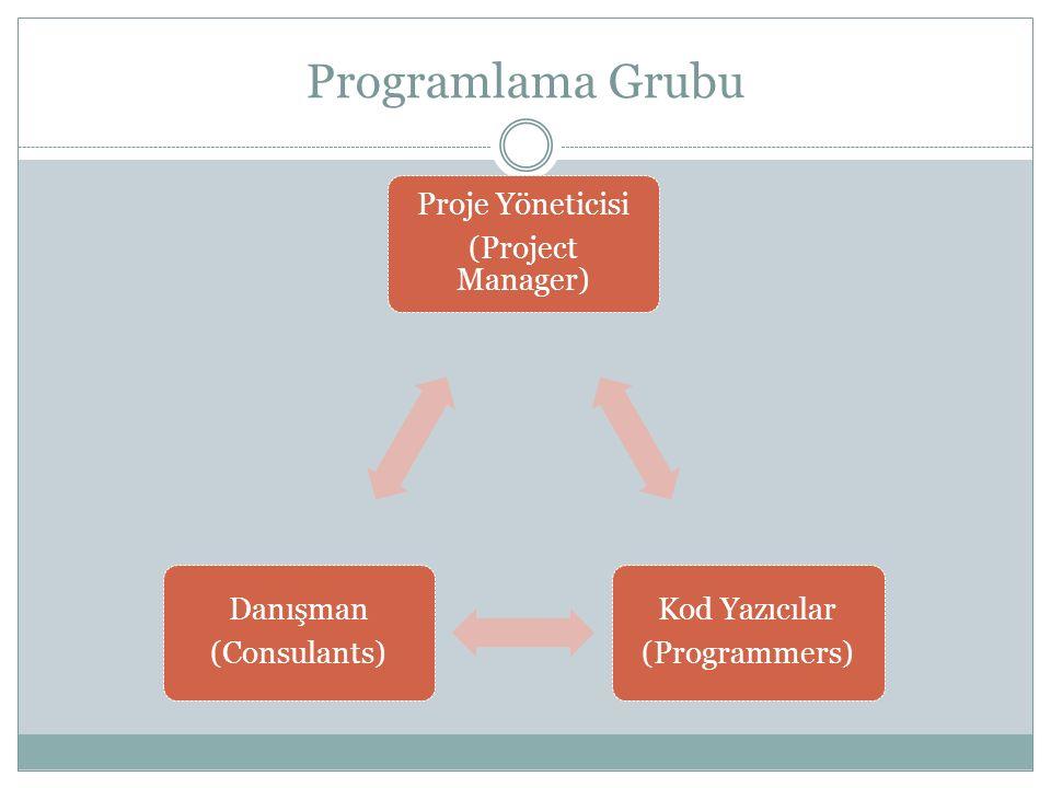 Programlama Grubu Proje Yöneticisi (Project Manager) Kod Yazıcılar (Programmers) Danışman (Consulants)