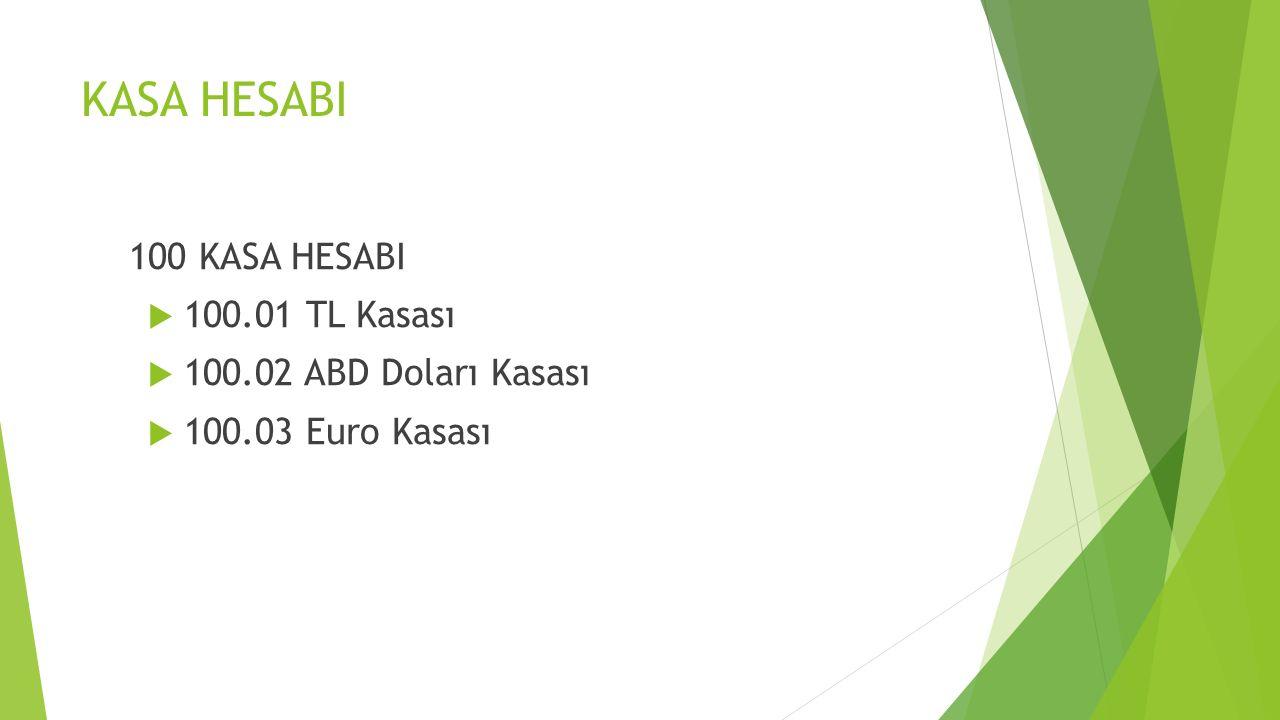 100 KASA HESABI  100.01 TL Kasası  100.02 ABD Doları Kasası  100.03 Euro Kasası