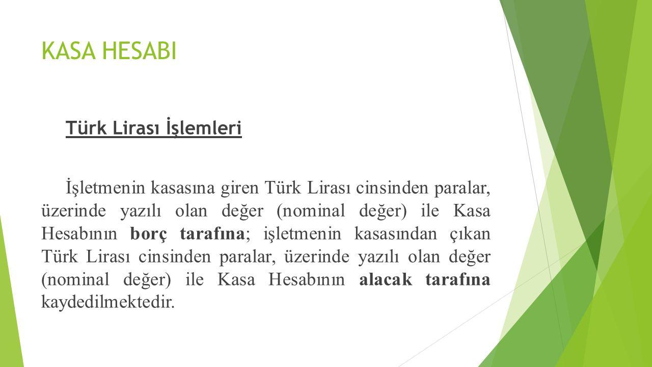 KASA HESABI Türk Lirası İşlemleri İşletmenin kasasına giren Türk Lirası cinsinden paralar, üzerinde yazılı olan değer (nominal değer) ile Kasa Hesabın