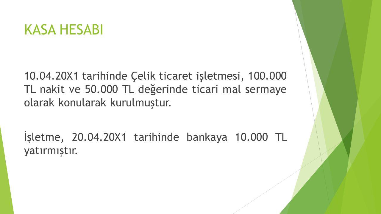 KASA HESABI 10.04.20X1 tarihinde Çelik ticaret işletmesi, 100.000 TL nakit ve 50.000 TL değerinde ticari mal sermaye olarak konularak kurulmuştur. İşl