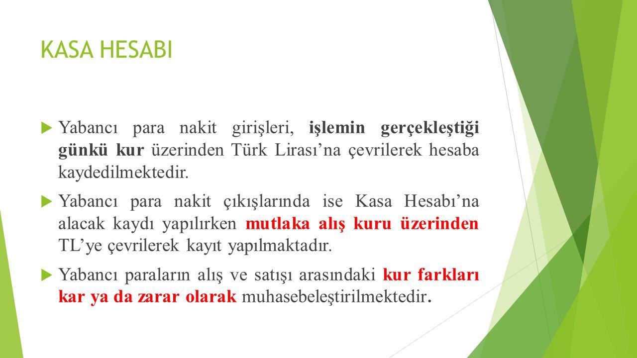 KASA HESABI  Yabancı para nakit girişleri, işlemin gerçekleştiği günkü kur üzerinden Türk Lirası'na çevrilerek hesaba kaydedilmektedir.  Yabancı par