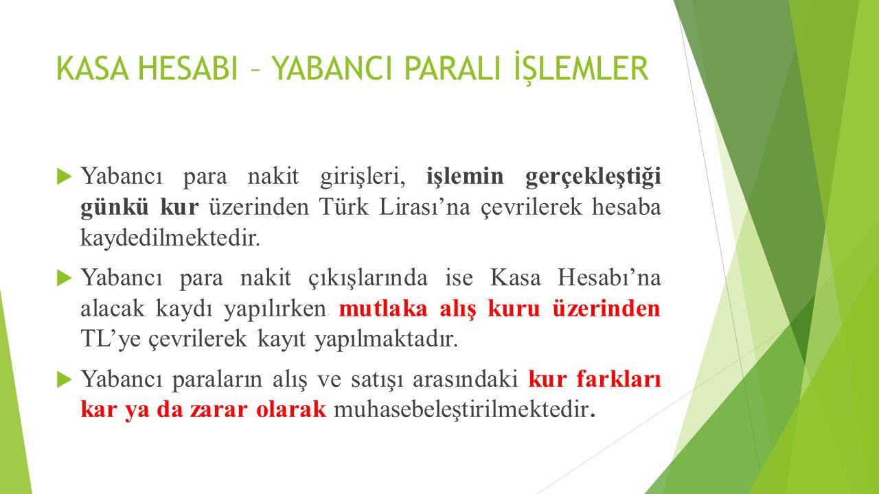 KASA HESABI – YABANCI PARALI İŞLEMLER  Yabancı para nakit girişleri, işlemin gerçekleştiği günkü kur üzerinden Türk Lirası'na çevrilerek hesaba kayde
