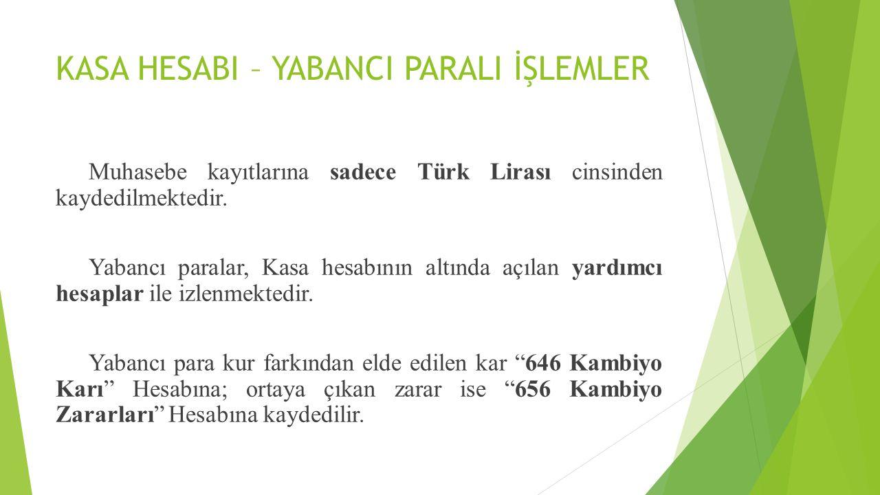 KASA HESABI – YABANCI PARALI İŞLEMLER Muhasebe kayıtlarına sadece Türk Lirası cinsinden kaydedilmektedir. Yabancı paralar, Kasa hesabının altında açıl