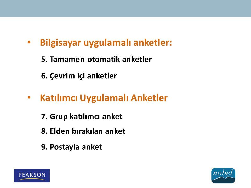 Bilgisayar uygulamalı anketler: 5. Tamamen otomatik anketler 6. Çevrim içi anketler Katılımcı Uygulamalı Anketler 7. Grup katılımcı anket 8. Elden bır