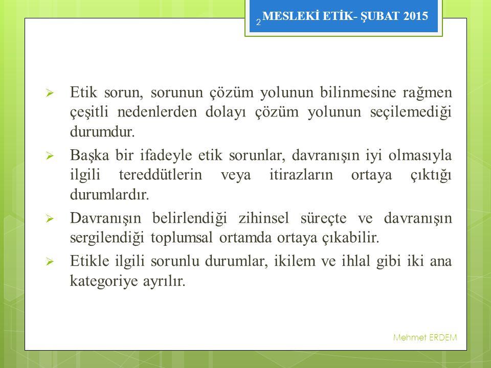 MESLEKİ ETİK- ŞUBAT 2015 ETİK KURULLAR Mehmet ERDEM 13