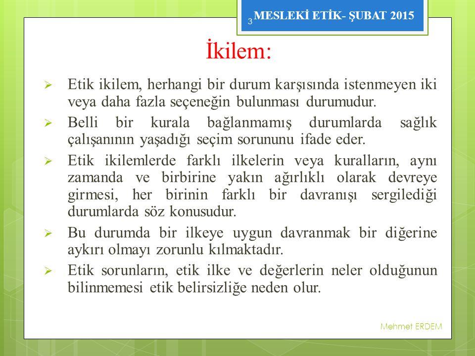 MESLEKİ ETİK- ŞUBAT 2015 SAĞLIK MESLEĞİ MENSUPLARI İLE İLGİLİ SUÇ TANIMLARI Mehmet ERDEM 24