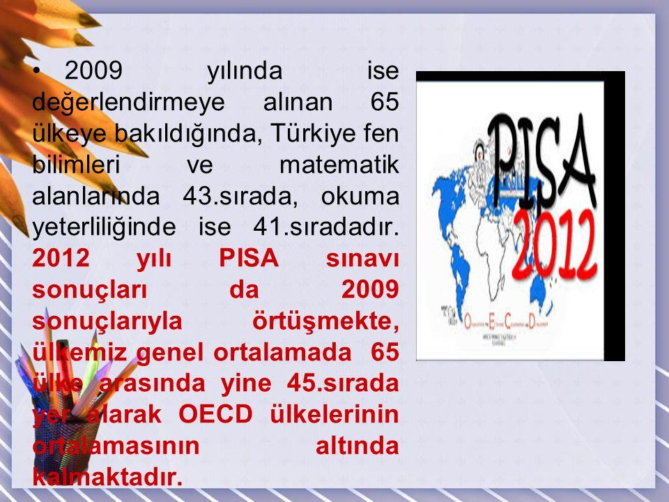 Dünya çapında ülkemizi değerlendirdiğimizde, şu ana kadar alınan 2003, 2006 PISA sınavı sonuçlarının her ikisinde de Türk öğrenciler, her üç konu alan