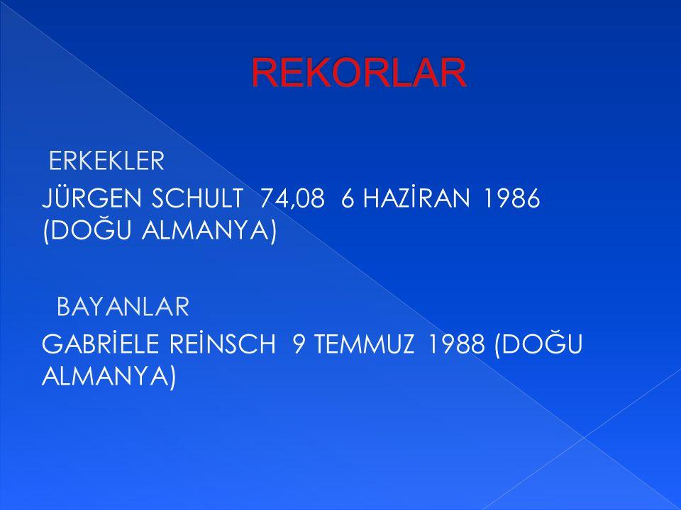 ERKEKLER JÜRGEN SCHULT 74,08 6 HAZİRAN 1986 (DOĞU ALMANYA) BAYANLAR GABRİELE REİNSCH 9 TEMMUZ 1988 (DOĞU ALMANYA)