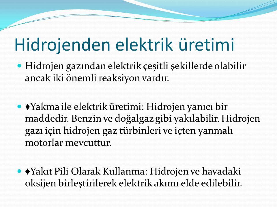 Hidrojenden elektrik üretimi Hidrojen gazından elektrik çeşitli şekillerde olabilir ancak iki önemli reaksiyon vardır. ♦ Yakma ile elektrik üretimi: H