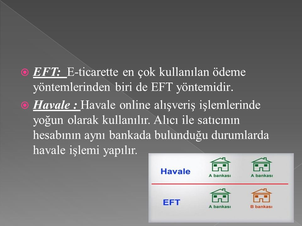  EFT: E-ticarette en çok kullanılan ödeme yöntemlerinden biri de EFT yöntemidir.  Havale : Havale online alışveriş işlemlerinde yoğun olarak kullanı