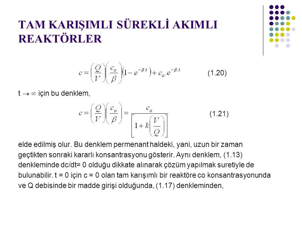 TAM KARIŞIMLI SÜREKLİ AKIMLI REAKTÖRLER (1.20) t   için bu denklem, (1.21) elde edilmiş olur. Bu denklem permenant haldeki, yani, uzun bir zaman geç