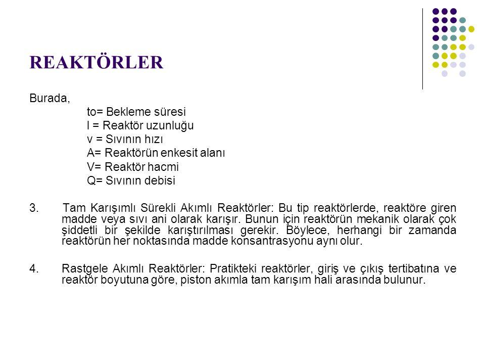 Görüldüğü gibi reaktör hacmi V = 3,10 (Q / k) olur.