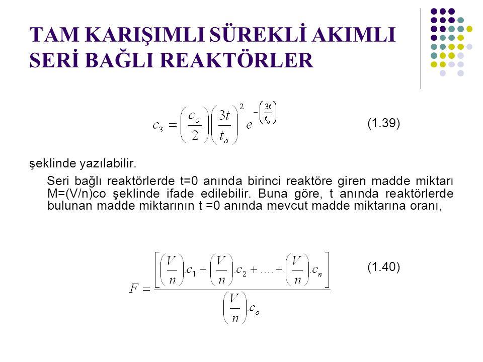 TAM KARIŞIMLI SÜREKLİ AKIMLI SERİ BAĞLI REAKTÖRLER (1.39) şeklinde yazılabilir. Seri bağlı reaktörlerde t=0 anında birinci reaktöre giren madde miktar