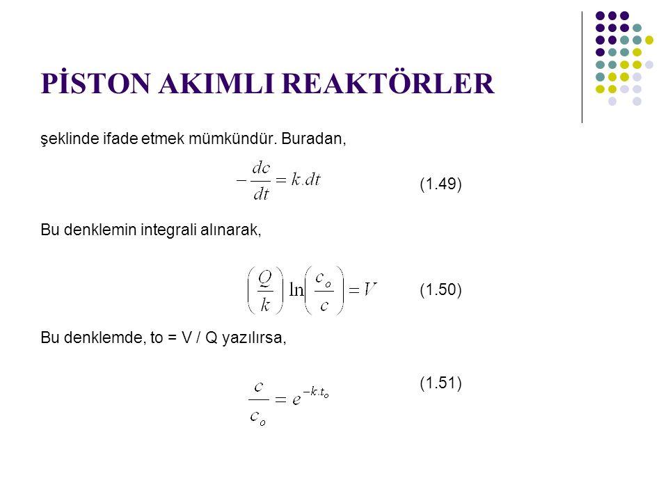 PİSTON AKIMLI REAKTÖRLER şeklinde ifade etmek mümkündür. Buradan, (1.49) Bu denklemin integrali alınarak, (1.50) Bu denklemde, to = V / Q yazılırsa, (