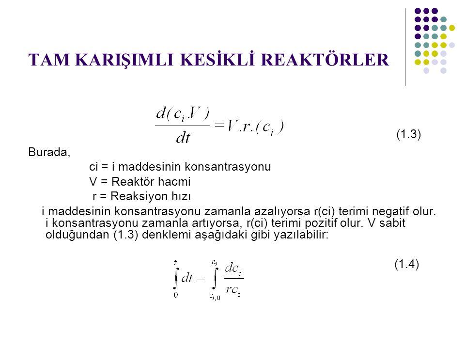 TAM KARIŞIMLI KESİKLİ REAKTÖRLER (1.3) Burada, ci = i maddesinin konsantrasyonu V = Reaktör hacmi r = Reaksiyon hızı i maddesinin konsantrasyonu zaman