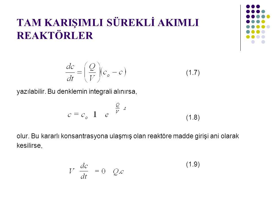 TAM KARIŞIMLI SÜREKLİ AKIMLI REAKTÖRLER (1.7) yazılabilir. Bu denklemin integrali alınırsa, (1.8) olur. Bu kararlı konsantrasyona ulaşmış olan reaktör