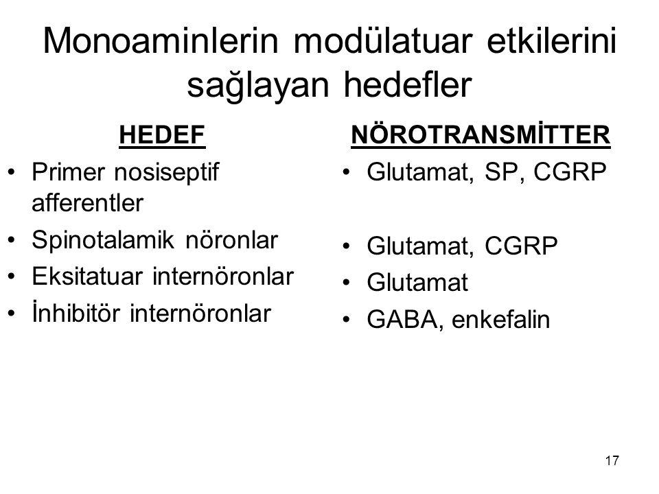 17 Monoaminlerin modülatuar etkilerini sağlayan hedefler HEDEF Primer nosiseptif afferentler Spinotalamik nöronlar Eksitatuar internöronlar İnhibitör
