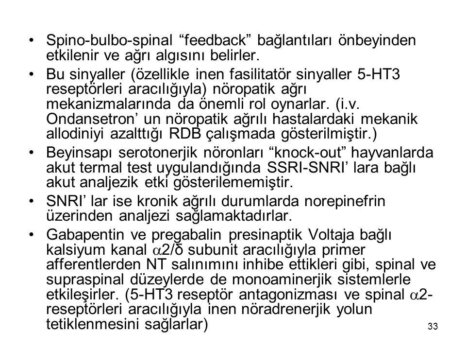 """33 Spino-bulbo-spinal """"feedback"""" bağlantıları önbeyinden etkilenir ve ağrı algısını belirler. Bu sinyaller (özellikle inen fasilitatör sinyaller 5-HT3"""
