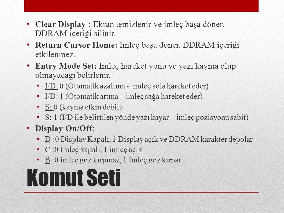 Clear Display : Ekran temizlenir ve imleç başa döner.