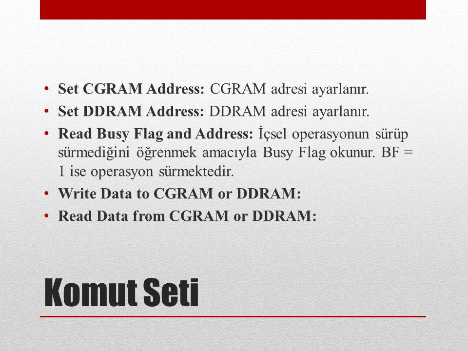 Komut Seti Set CGRAM Address: CGRAM adresi ayarlanır.