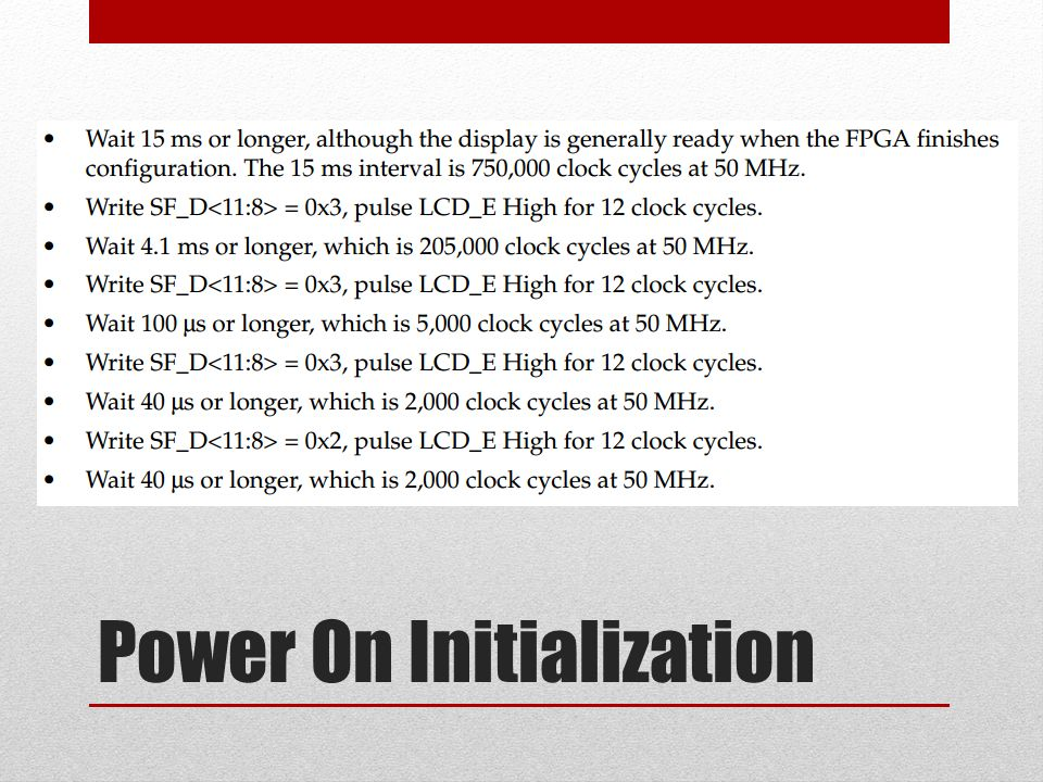 Power On Initialization