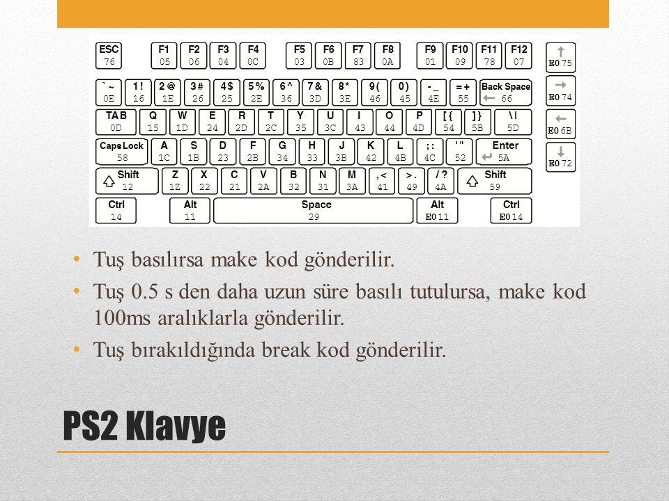 PS2 Klavye Tuş basılırsa make kod gönderilir.